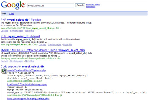 Google Code Search in SERPS